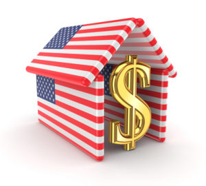 Golden dollar sign within a house made of American flags