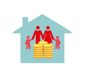 A family inside a house illustrating childcare costs and how they affect a mortgage.