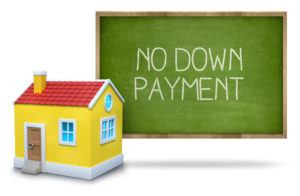 No down payment board with house next to it.