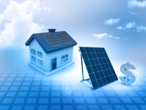 A picture showing a home, a solar panel, and a dollar sign representing a mortgage.