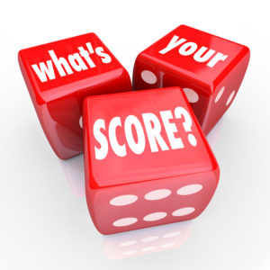 3 dice with words asking about your credit score.