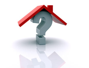 A question mark under a roof symbolizing which questions you should ask before choosing a home.