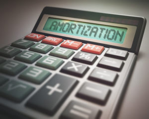 A calculator spelling out amortization.